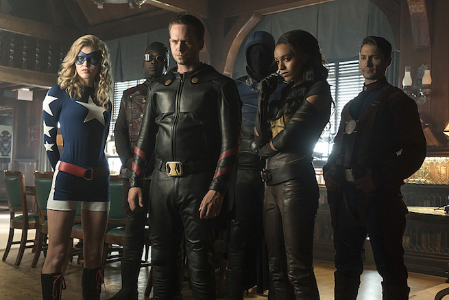 """DC's Legends of Tomorrow --""""The Justice Society of America""""-- Image LGN202b_0207.jpg -- Pictured: (L-R): Sarah Grey as Stargirl, Kwesi Ameyaw as Dr. Mid-Nite, Patrick J. Adams as Hourman, Dan Payne as Obsidian, Maisie Richardson-Sellers as Amaya Jiwe/Vixen and Matthew MacCaull as Commander Steel -- Photo: Katie Yu/The CW -- © 2016 The CW Network, LLC. All Rights Reserved."""
